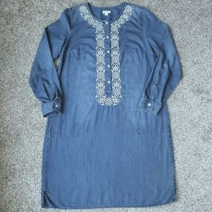 J. Jill Embroidered Chambray Shirt Dress Small